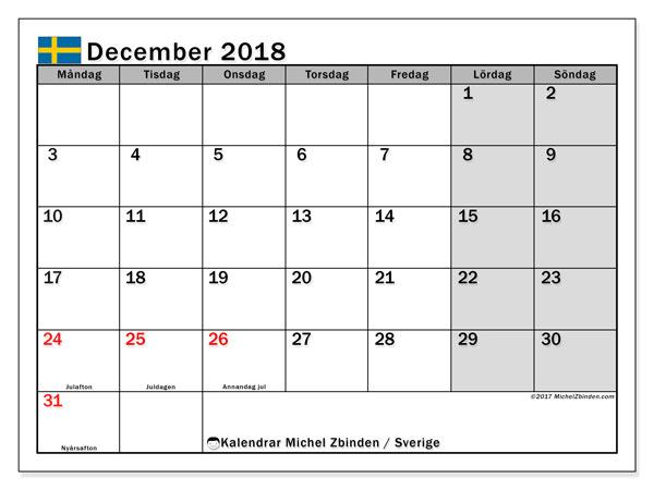 Kalender december 2018, med helgdagar i sverige. Almanak för att skriva ut gratis.