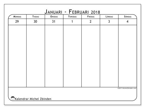 Kalender februari 2018 (43-1MS). Almanak för att skriva ut gratis.