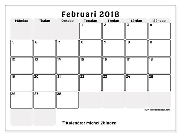 Kalender februari 2018 (44MS). Gratis kalender att skriva ut.