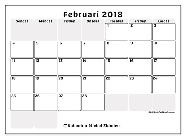 Kalender februari 2018 (44SL). Kalender för gratis utskrift.