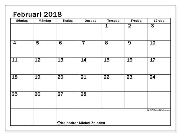 Kalender februari 2018 (50SL). Kalender för året att skriva ut gratis.