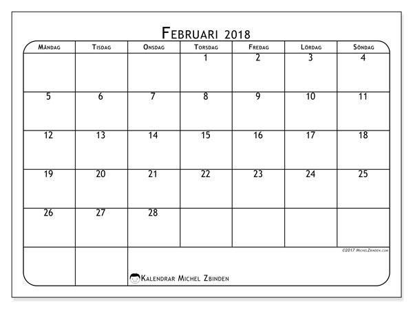 Kalender februari 2018 (51MS). Gratis kalender att skriva ut.