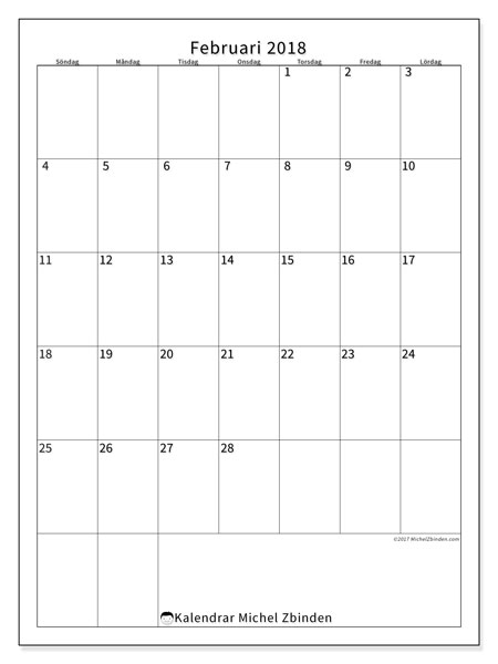 Kalender februari 2018 (52SL). Almanak för att skriva ut gratis.