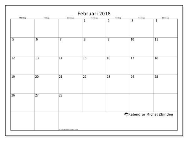 Kalender februari 2018 (53MS). Gratis utskrivbara kalender.