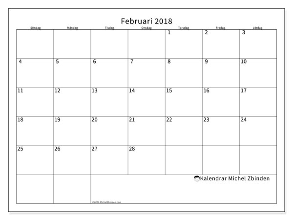 Kalender februari 2018 (53SL). Almanak för att skriva ut gratis.