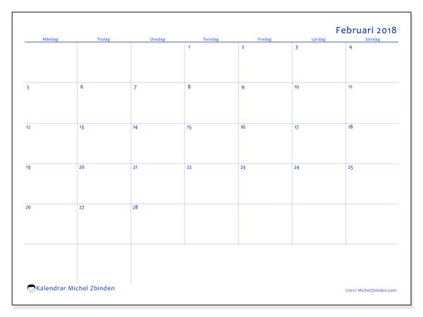 Kalender februari 2018 (55MS). Schema för att skriva ut gratis.