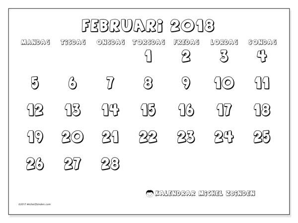 Kalender februari 2018 (56MS). Almanak för att skriva ut gratis.