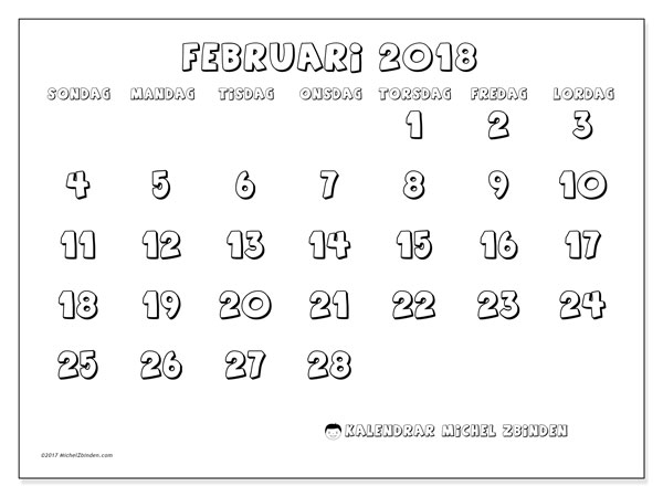 Kalender februari 2018 (56SL). Gratis utskrivbara kalender.