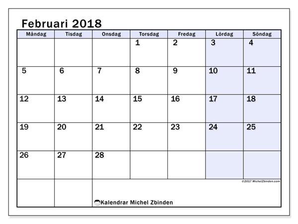 Kalender februari 2018 (57MS). Gratis kalender att skriva ut.