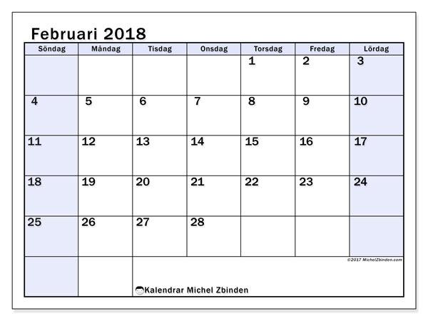 Kalender februari 2018 (57SL). Almanak för att skriva ut gratis.