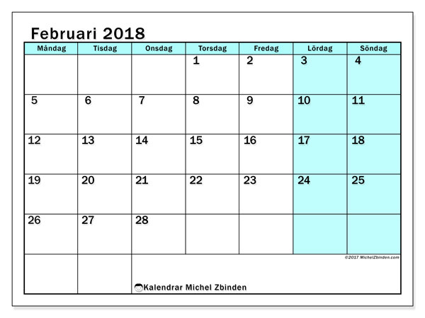 Kalender februari 2018 (59MS). Almanak för att skriva ut gratis.