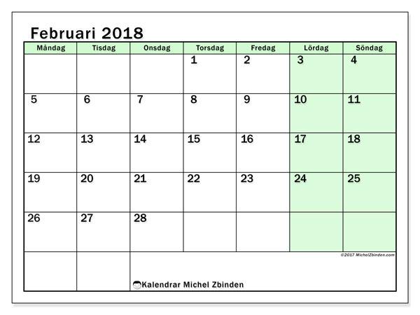 Kalender februari 2018 (60MS). Månadskalender för att skriva ut gratis.