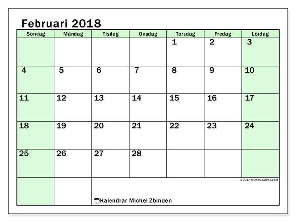 Kalender februari 2018 (60SL). Almanak för att skriva ut gratis.