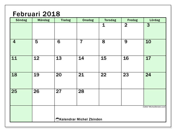 Kalender februari 2018 (60SL). Gratis utskrivbara kalender.