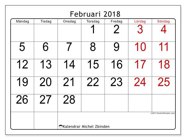 Kalender februari 2018 (62MS). Schema för att skriva ut gratis.