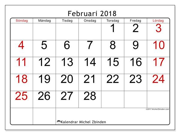 Kalender februari 2018 (62SL). Månadskalender för att skriva ut gratis.