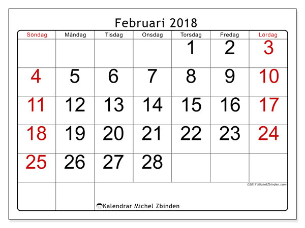 Kalender februari 2018 (62SL). Gratis utskrivbara kalender.
