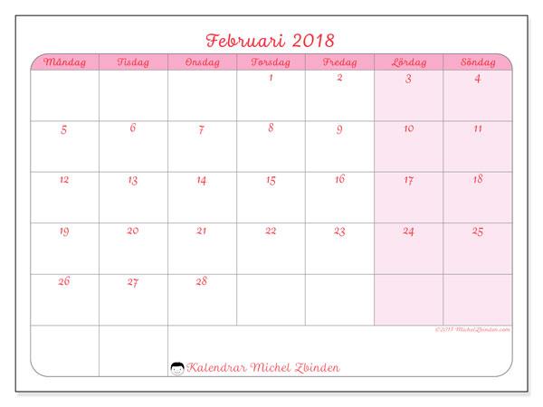 Kalender februari 2018 (63MS). Kalender för gratis utskrift.