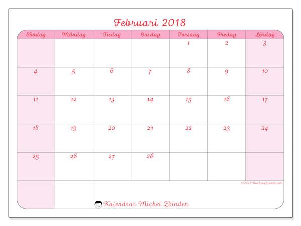 Kalender februari 2018 (63SL). Kalender för gratis utskrift.