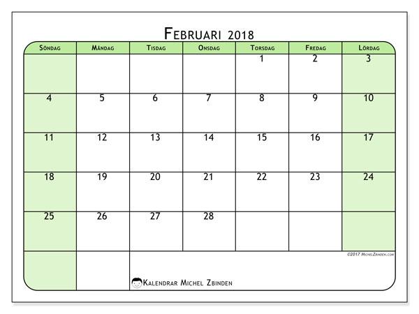 Kalender februari 2018 (65SL). Schema för att skriva ut gratis.