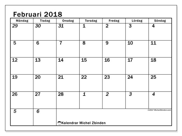 Kalender februari 2018 (66MS). Schema för att skriva ut gratis.
