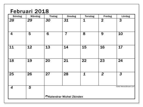 Kalender februari 2018 (66SL). Kalender för gratis utskrift.