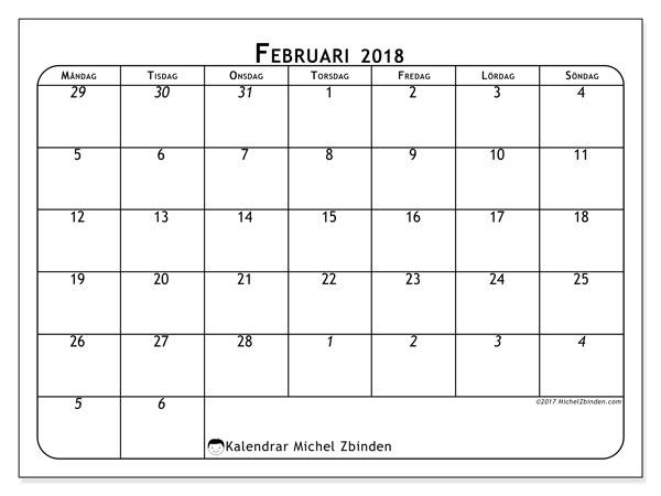 Kalender februari 2018 (67MS). Schema för att skriva ut gratis.