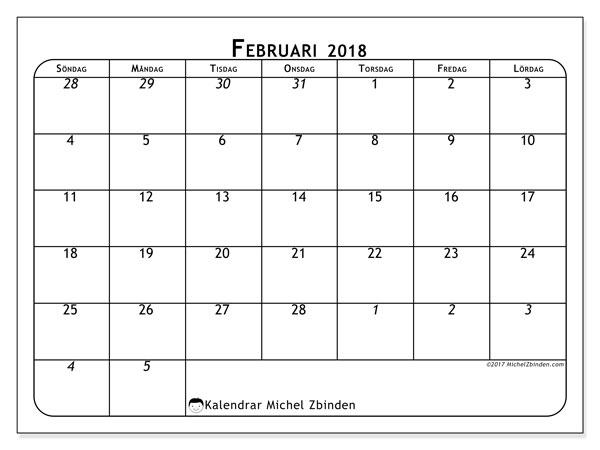 Kalender februari 2018 (67SL). Almanak för att skriva ut gratis.