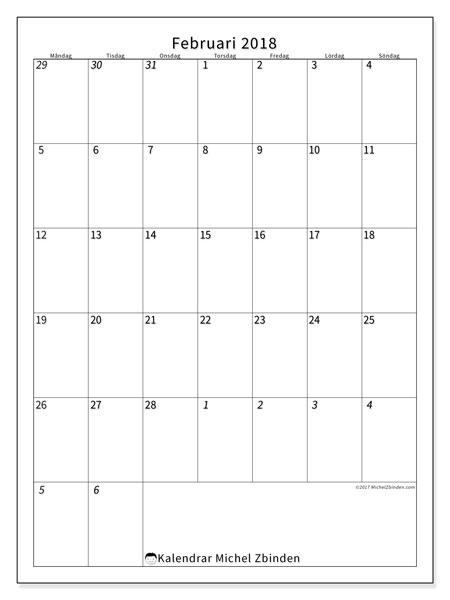 Kalender februari 2018 (68MS). Kalender för gratis utskrift.