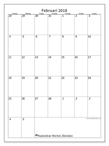 Kalender februari 2018 (68SL). Månadskalender för att skriva ut gratis.