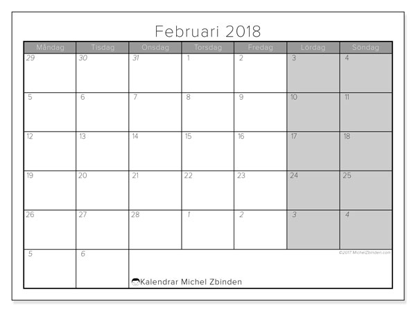 Kalender februari 2018 (69MS). Månadskalender för att skriva ut gratis.