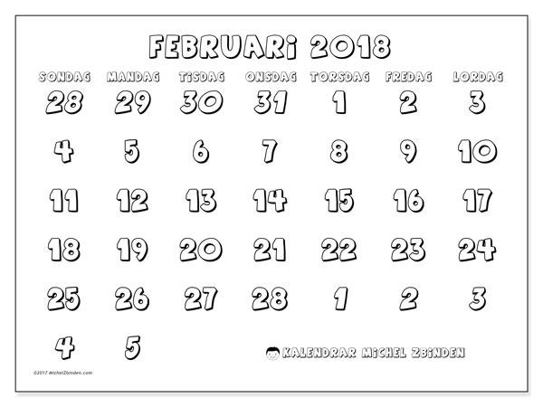 Kalender februari 2018 (71SL). Kalender för att skriva ut gratis.