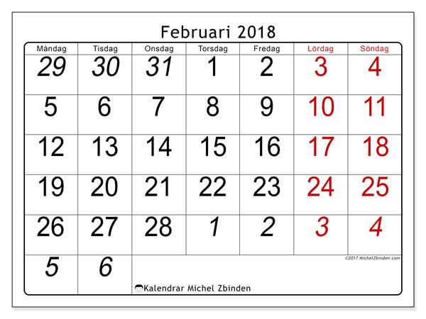 Kalender februari 2018 (72MS). Kalender för gratis utskrift.