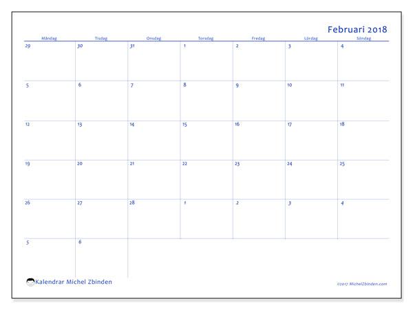 Kalender februari 2018 (73MS). Kalender för gratis utskrift.