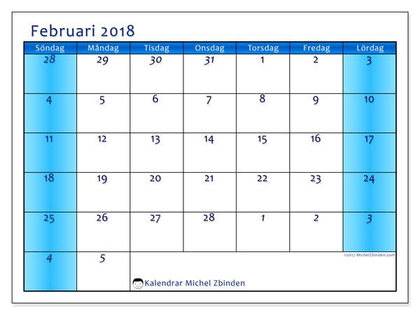 Kalender februari 2018 (75SL). Månadskalender för att skriva ut gratis.