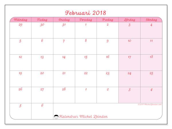 Kalender februari 2018 (76MS). Kalender för gratis utskrift.