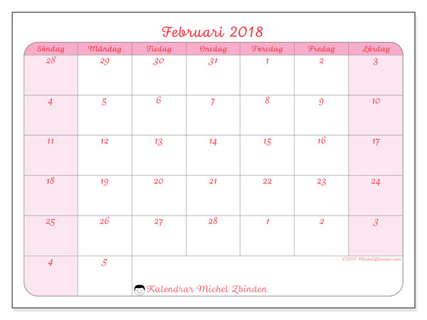 Kalender februari 2018 (76SL). Månadskalender för att skriva ut gratis.