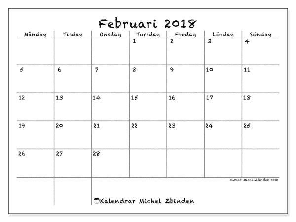 Kalender februari 2018 (77MS). Kalender för året att skriva ut gratis.