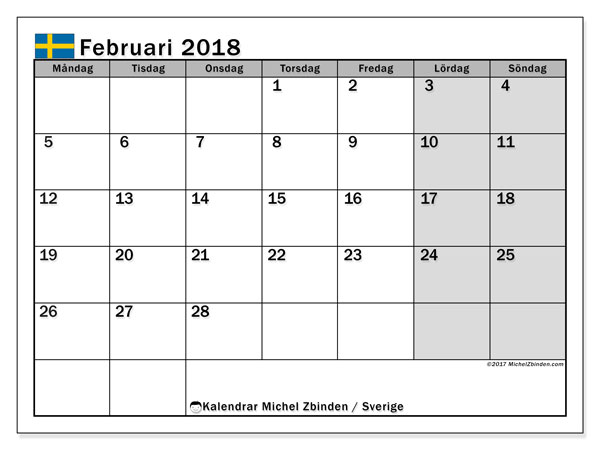 Kalender februari 2018, med helgdagar i sverige. Schema för att skriva ut gratis.