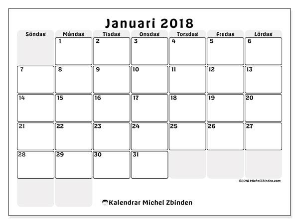 Kalender januari 2018 (44SL). Gratis kalender att skriva ut.