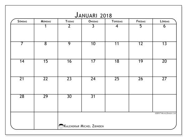 Kalender januari 2018 (51SL). Månadskalender för att skriva ut gratis.
