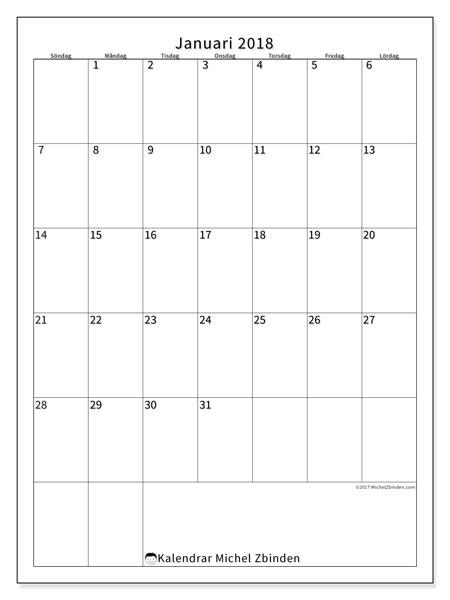 Kalender januari 2018 (52SL). Kalender för att skriva ut gratis.
