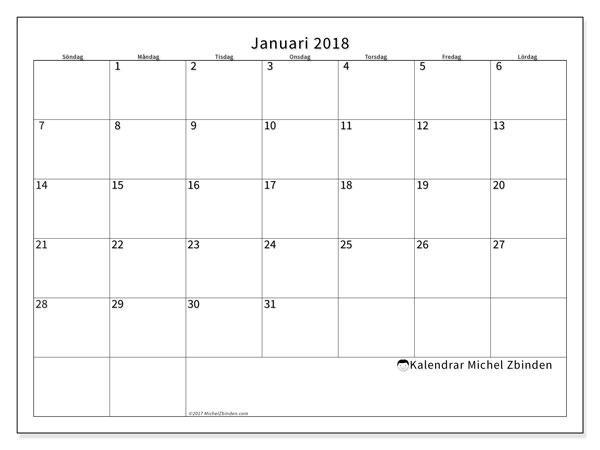 Kalender januari 2018 (53SL). Kalender för gratis utskrift.