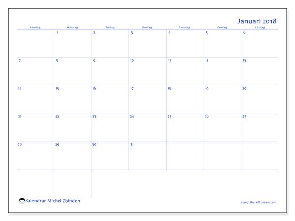 Kalender januari 2018 (55SL). Almanak för att skriva ut gratis.