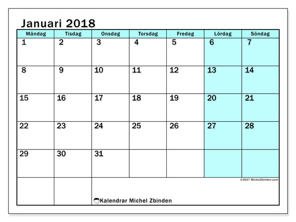 Kalendrar januari 2018 (59MS).