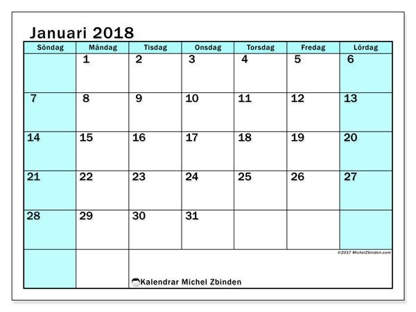 Kalender januari 2018 (59SL). Schema för att skriva ut gratis.