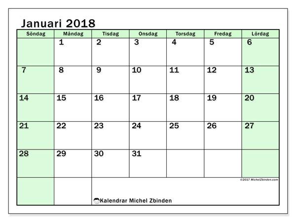 Kalender januari 2018 (60SL). Gratis kalender att skriva ut.
