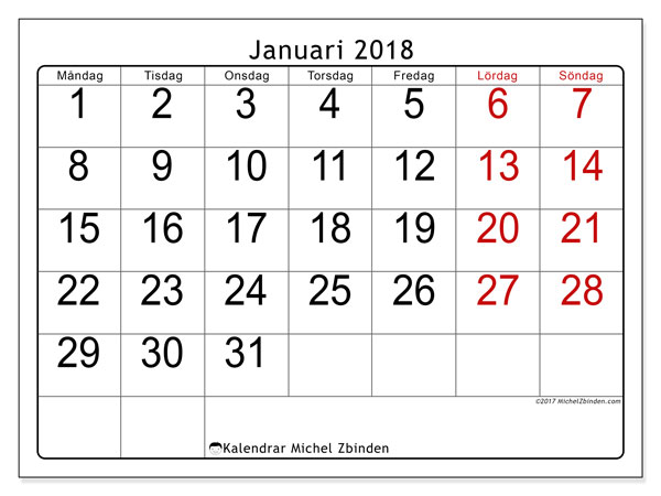 Kalendrar januari 2018 (62MS).