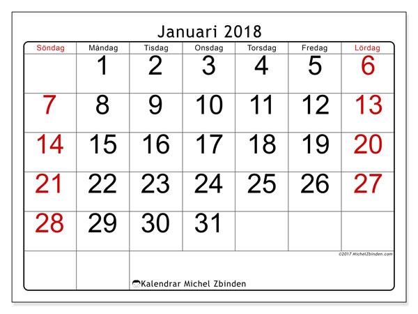 Kalender januari 2018 (62SL). Almanak för att skriva ut gratis.