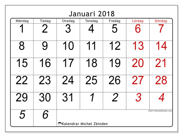 Kalendrar januari 2018 (72MS).